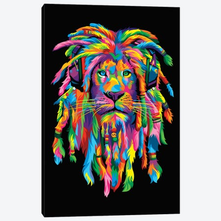 Lion Rasta Canvas Print #BWE9} by Bob Weer Canvas Wall Art