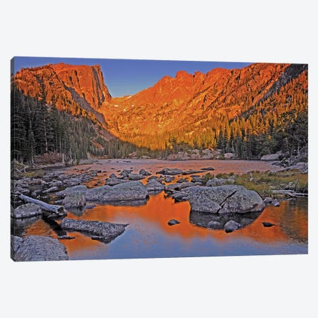 Sunrise On Dream Lake Canvas Print #BWF317} by Brian Wolf Art Print