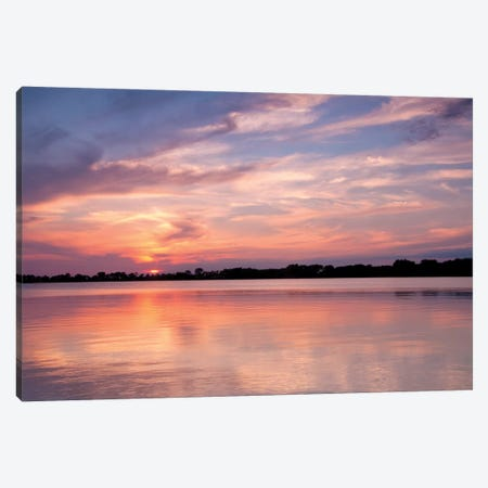Sunset On The Lake Canvas Print #BWF332} by Brian Wolf Canvas Wall Art