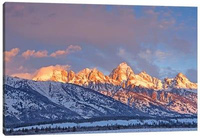Winter Sunrise On The Tetons Canvas Art Print