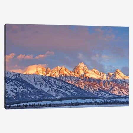 Winter Sunrise On The Tetons Canvas Print #BWF381} by Brian Wolf Canvas Art Print