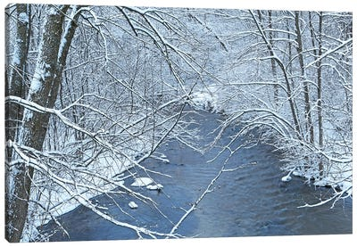 Fresh Snow On The Mecan River Canvas Art Print