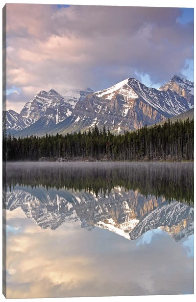 Cloudy Herbert Lake Canvas Art Print