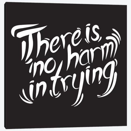 No Harm In Trying I Canvas Print #BWQ56} by 5by5collective Canvas Wall Art