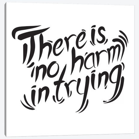 No Harm In Trying II Canvas Print #BWQ57} by 5by5collective Canvas Art