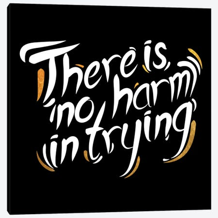No Harm In Trying IV Canvas Print #BWQ59} by 5by5collective Art Print