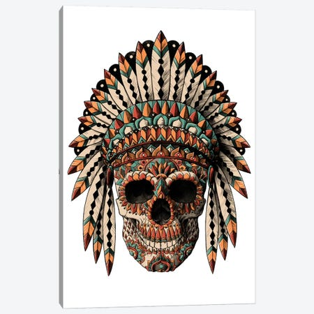 Skull Headdress In Color Canvas Print #BWZ120} by Bioworkz Canvas Art
