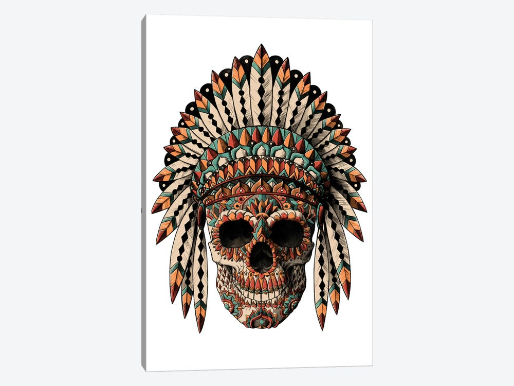 Skull Headdress In Color by Bioworkz 1-piece Canvas Art Print