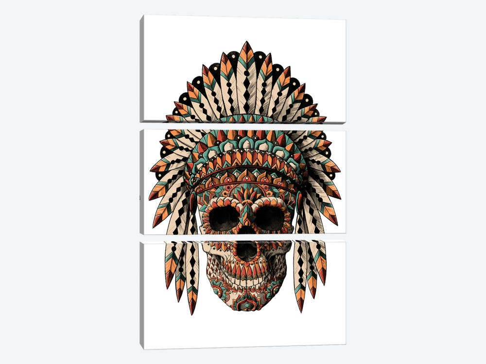 Skull Headdress In Color by Bioworkz 3-piece Art Print