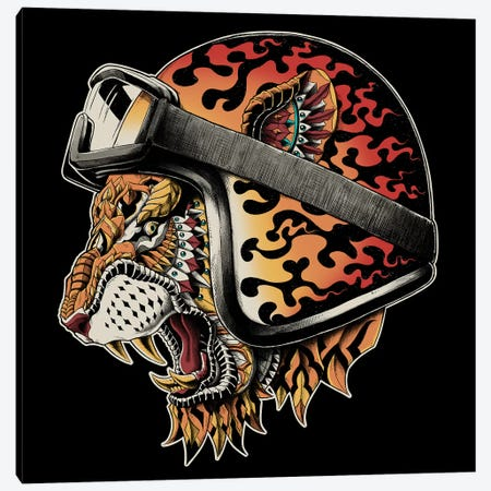 Tiger Helm In Color Canvas Print #BWZ122} by Bioworkz Canvas Wall Art