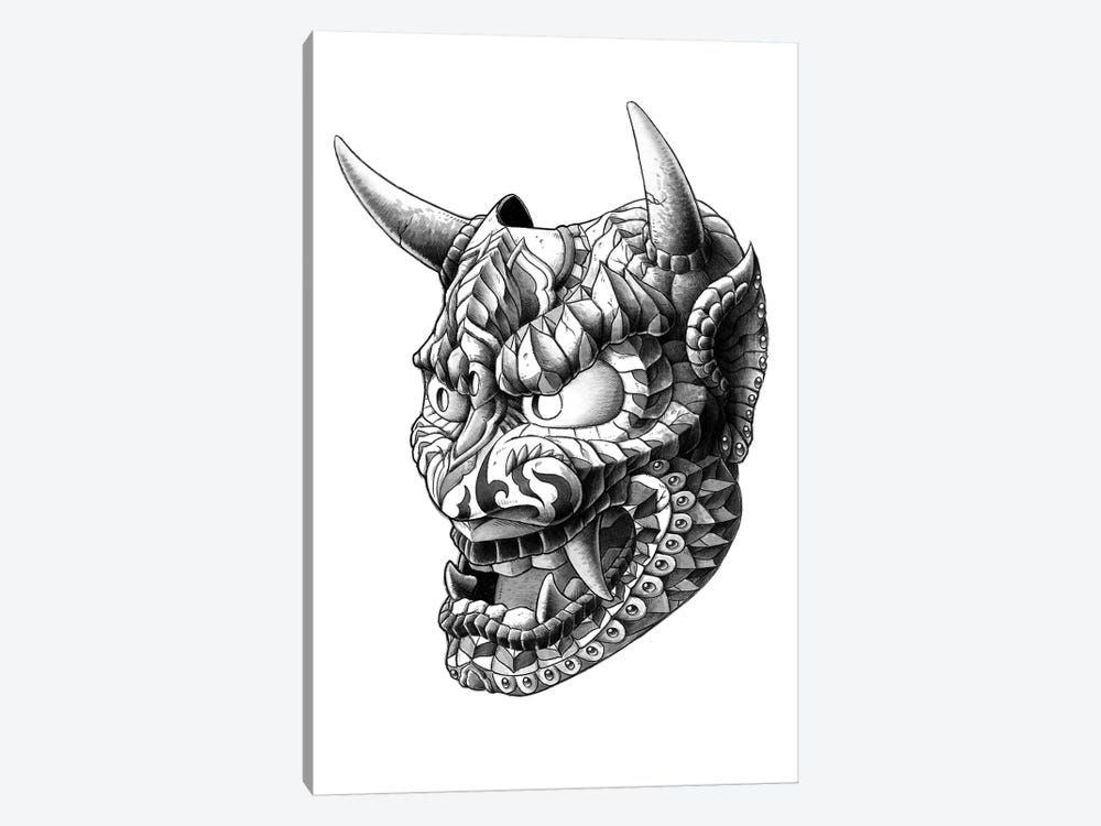 japanese demon mask i canvas artwork by bioworkz icanvas
