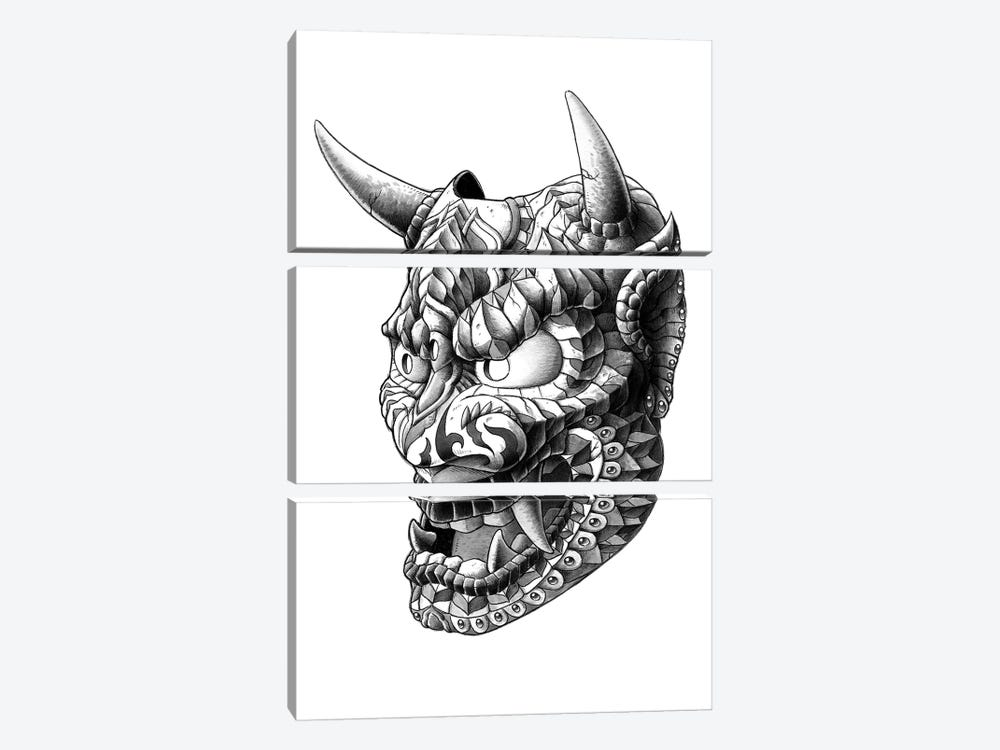 Japanese Demon Mask I by Bioworkz 3-piece Canvas Artwork