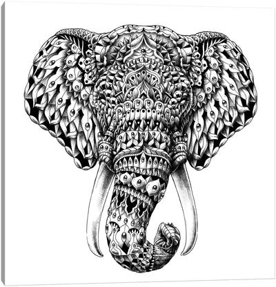 Ornate Elephant Head Canvas Art Print