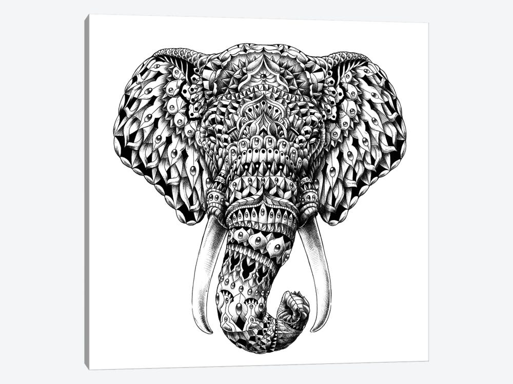 Ornate Elephant Head 1-piece Art Print