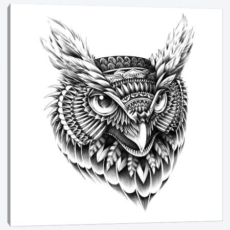 Ornate Owl Head Canvas Print #BWZ22} by Bioworkz Canvas Art Print