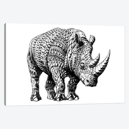 Rhino Canvas Print #BWZ30} by Bioworkz Canvas Artwork