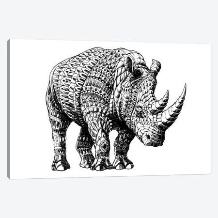 Rhino Canvas Print #BWZ30} by Bioworkz Canvas Artwork