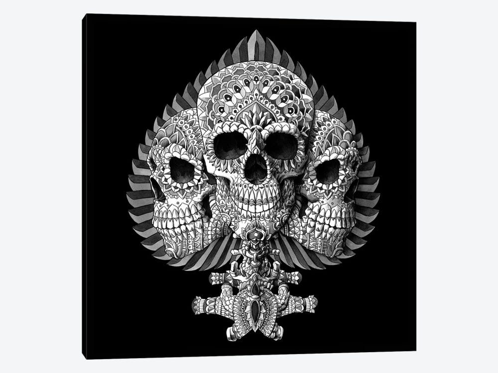 Skull Spade Black by Bioworkz 1-piece Canvas Artwork