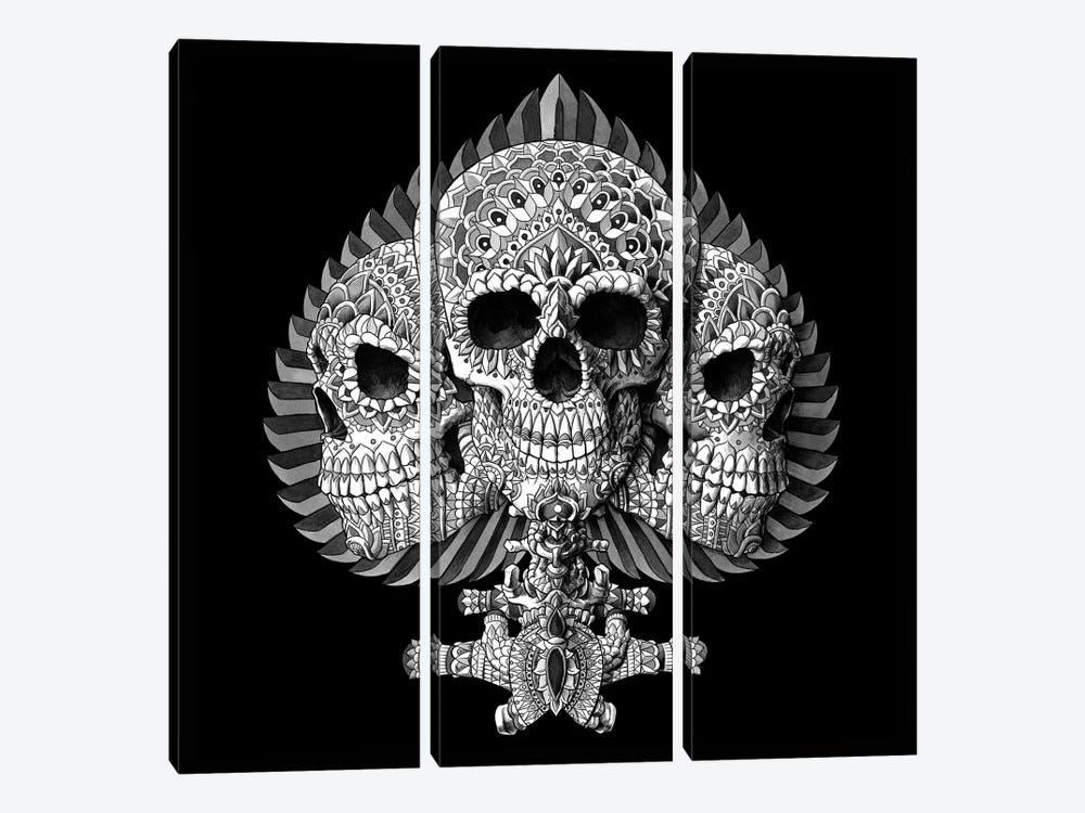 Skull Spade Black by Bioworkz 3-piece Canvas Artwork