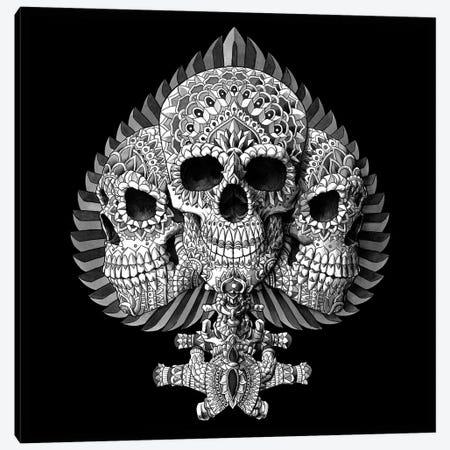 Skull Spade Black Canvas Print #BWZ34} by Bioworkz Art Print