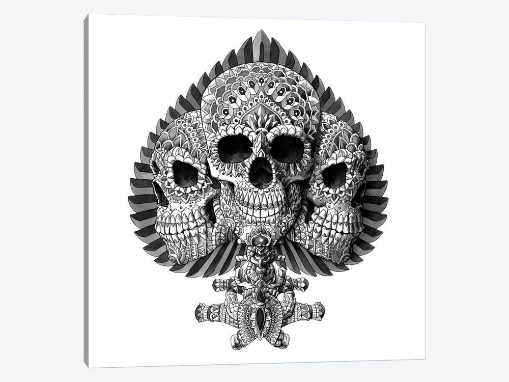 Skull Spade White by Bioworkz 1-piece Canvas Print