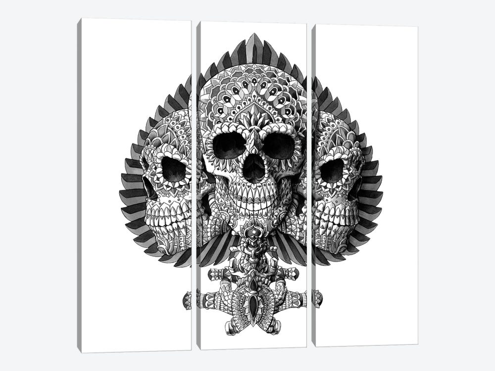 Skull Spade White by Bioworkz 3-piece Canvas Art Print