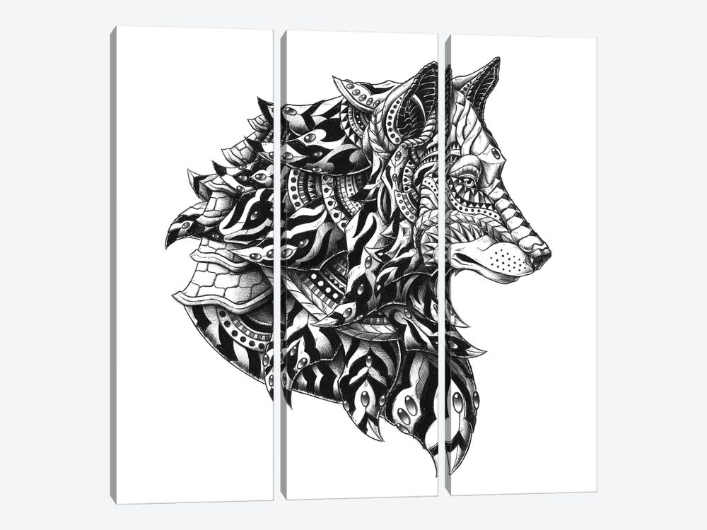 Wolf Profile by Bioworkz 3-piece Canvas Print