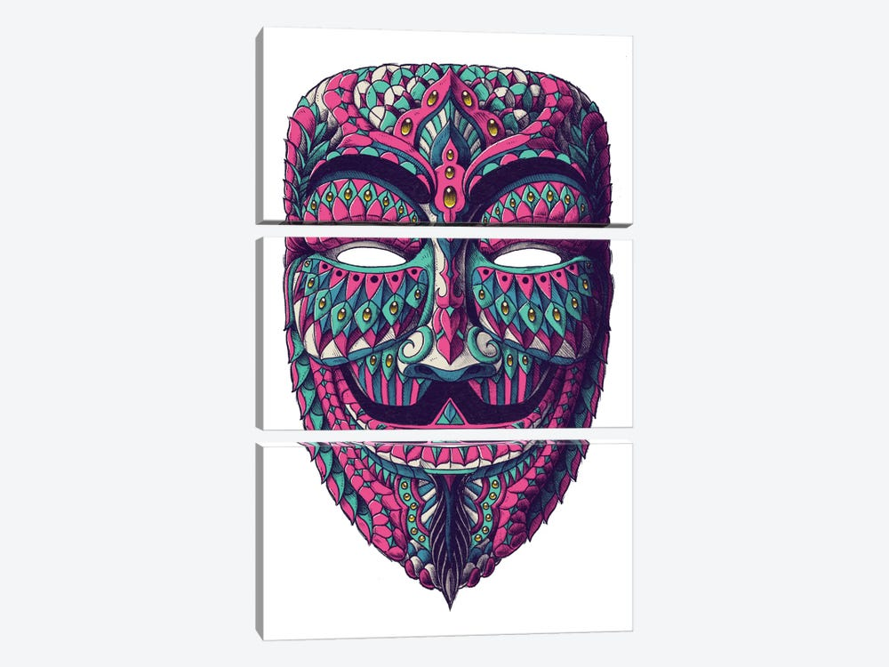 Anonymous Mask In Color I by Bioworkz 3-piece Canvas Art