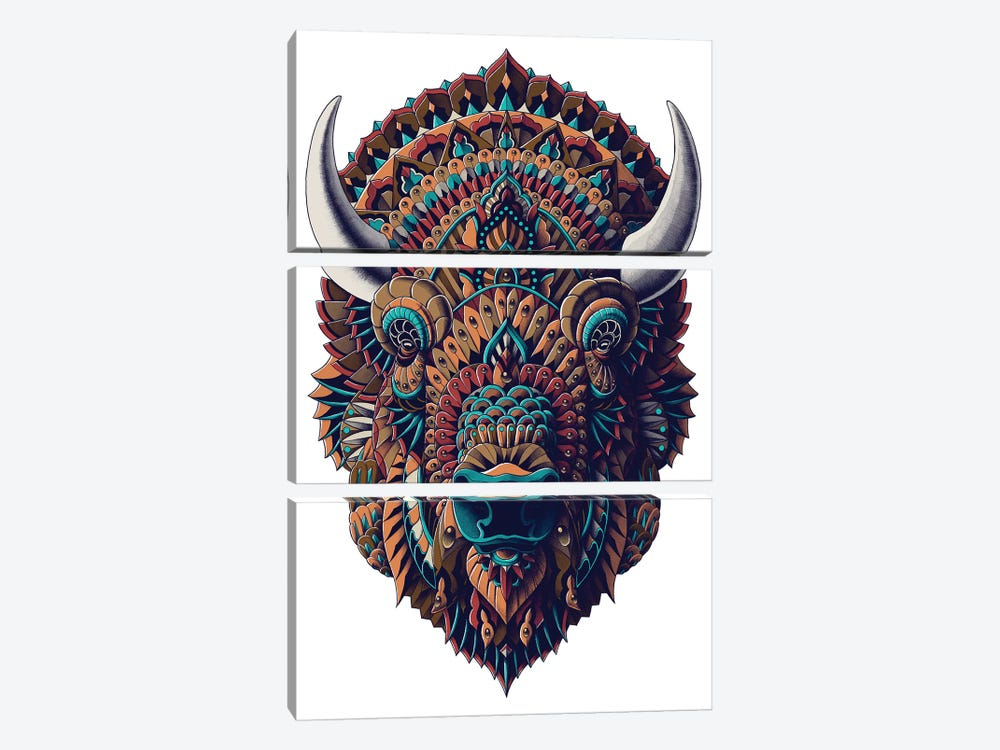 Bison In Color I 3-piece Canvas Print