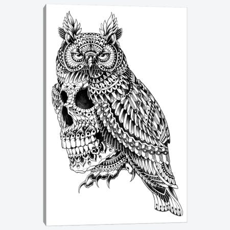 Great Horned Skull Canvas Print #BWZ58} by Bioworkz Canvas Wall Art