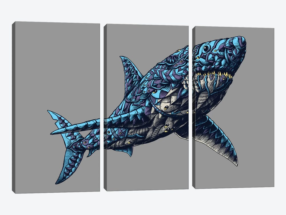 Great White Shark In Color I by BIOWORKZ 3-piece Art Print