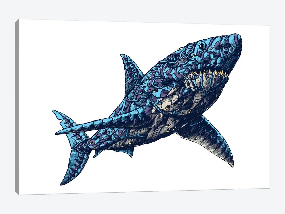 Great White Shark In Color II by Bioworkz 1-piece Canvas Print