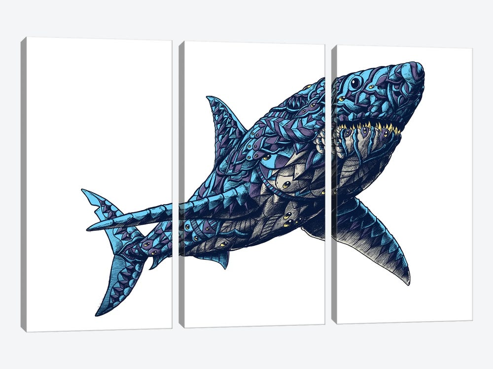 Great White Shark In Color II by Bioworkz 3-piece Canvas Art Print