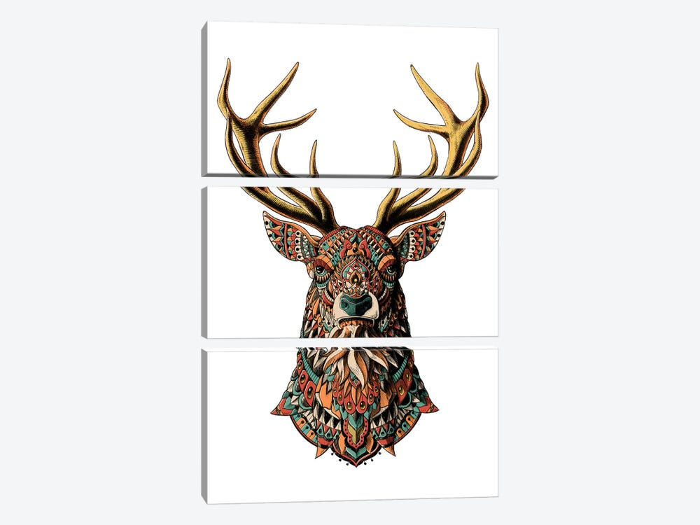Ornate Buck In Color II by Bioworkz 3-piece Canvas Wall Art
