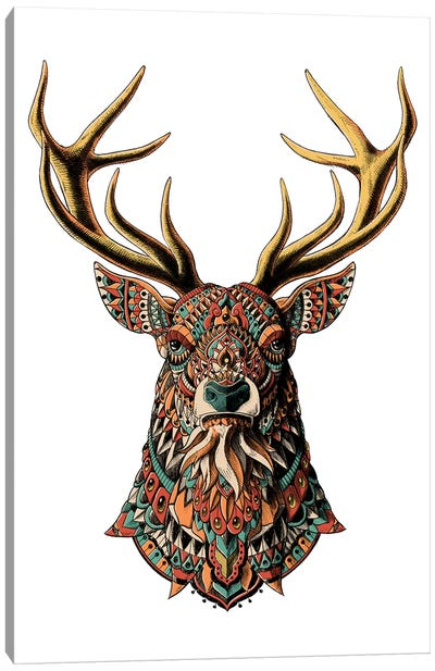Ornate Buck In Color II Canvas Art Print