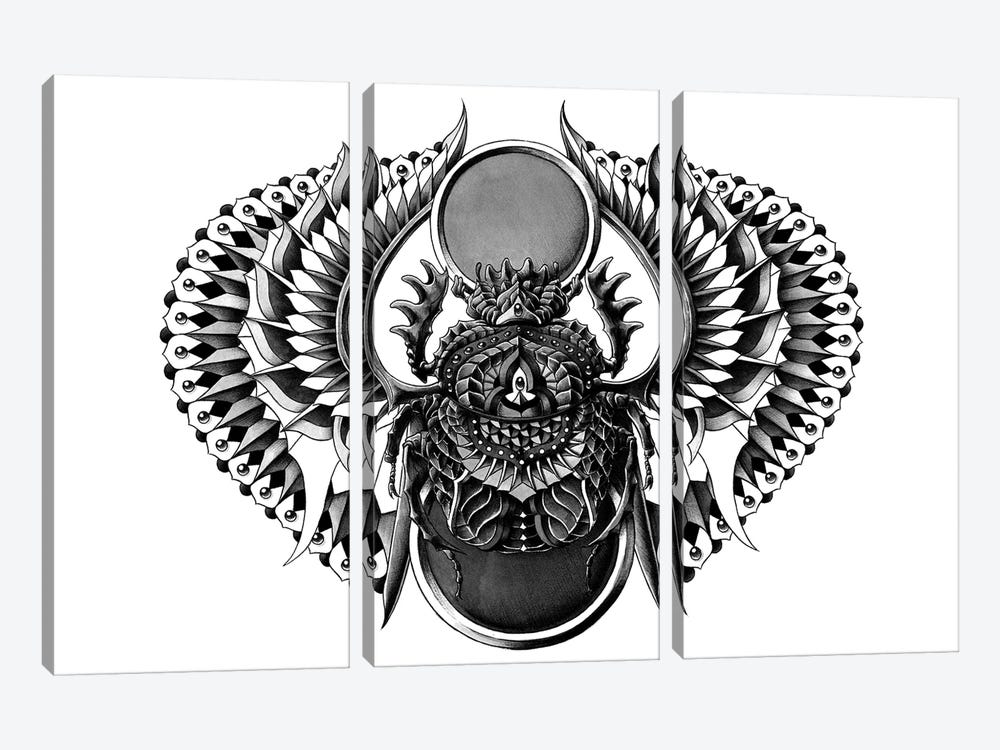 Egyptian Scarab 3-piece Canvas Print