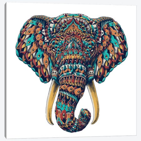 Ornate Elephant Head In Color I Canvas Print #BWZ70} by Bioworkz Canvas Wall Art
