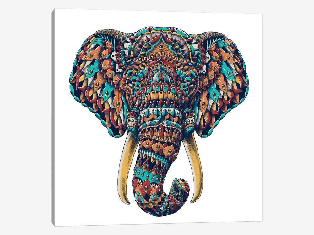 Ornate Elephant Head In Color I by Bioworkz 1-piece Canvas Wall Art