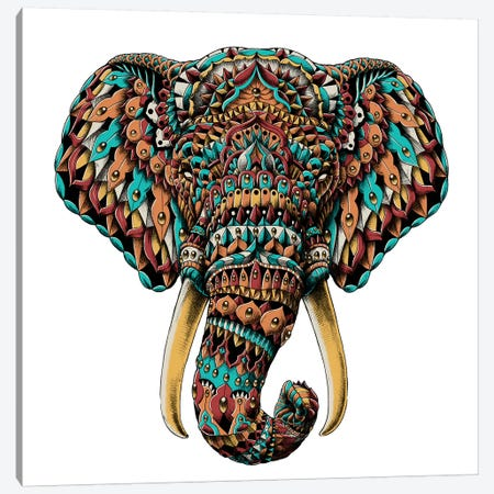 Ornate Elephant Head In Color II Canvas Print #BWZ71} by Bioworkz Canvas Art