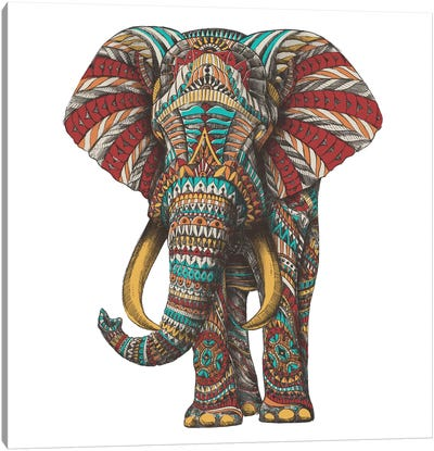 Ornate Elephant I In Color II Canvas Art Print