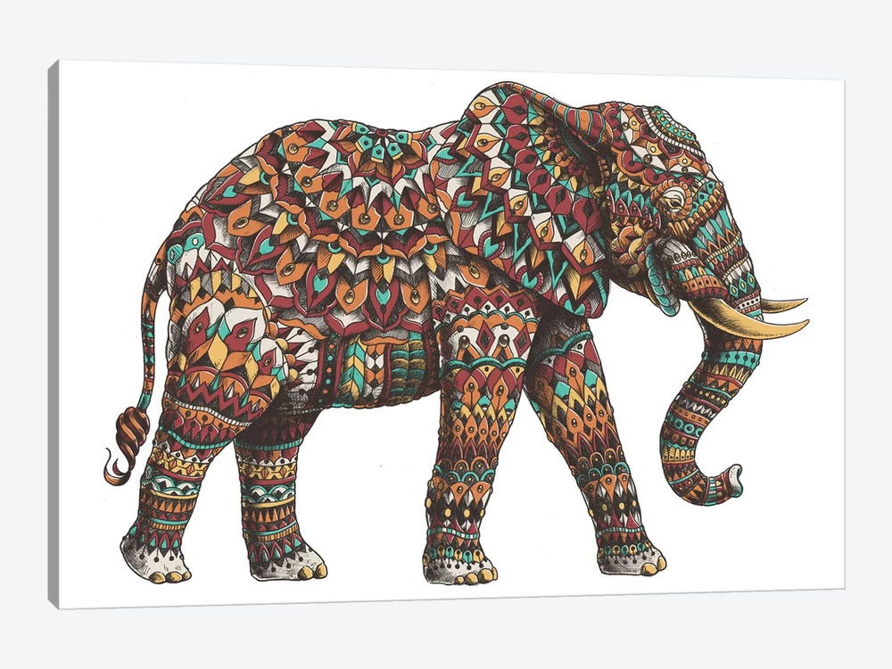 Ornate Elephant II In Color I by Bioworkz 1-piece Canvas Wall Art