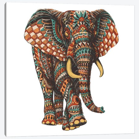 Ornate Elephant III In Color I Canvas Print #BWZ77} by Bioworkz Art Print