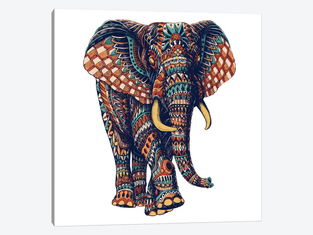 Ornate Elephant III In Color II 1-piece Canvas Wall Art