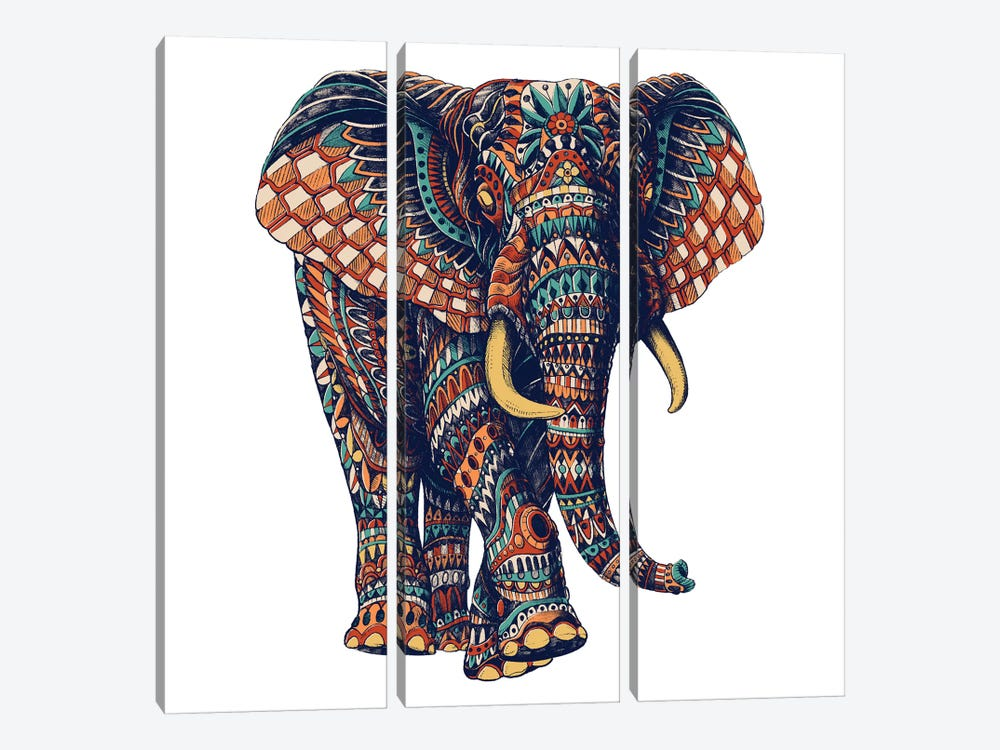 Ornate Elephant III In Color II 3-piece Canvas Wall Art