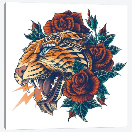 Ornate Leopard In Color II Canvas Print #BWZ87} by Bioworkz Canvas Artwork