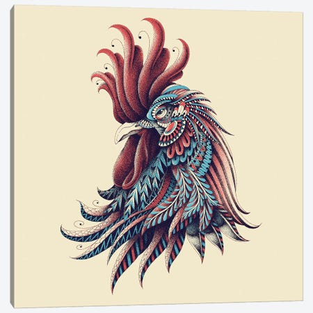 Ornate Rooster In Color I Canvas Print #BWZ88} by Bioworkz Art Print