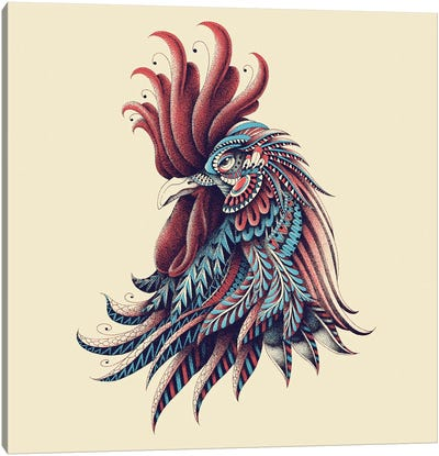 Ornate Rooster In Color I Canvas Art Print