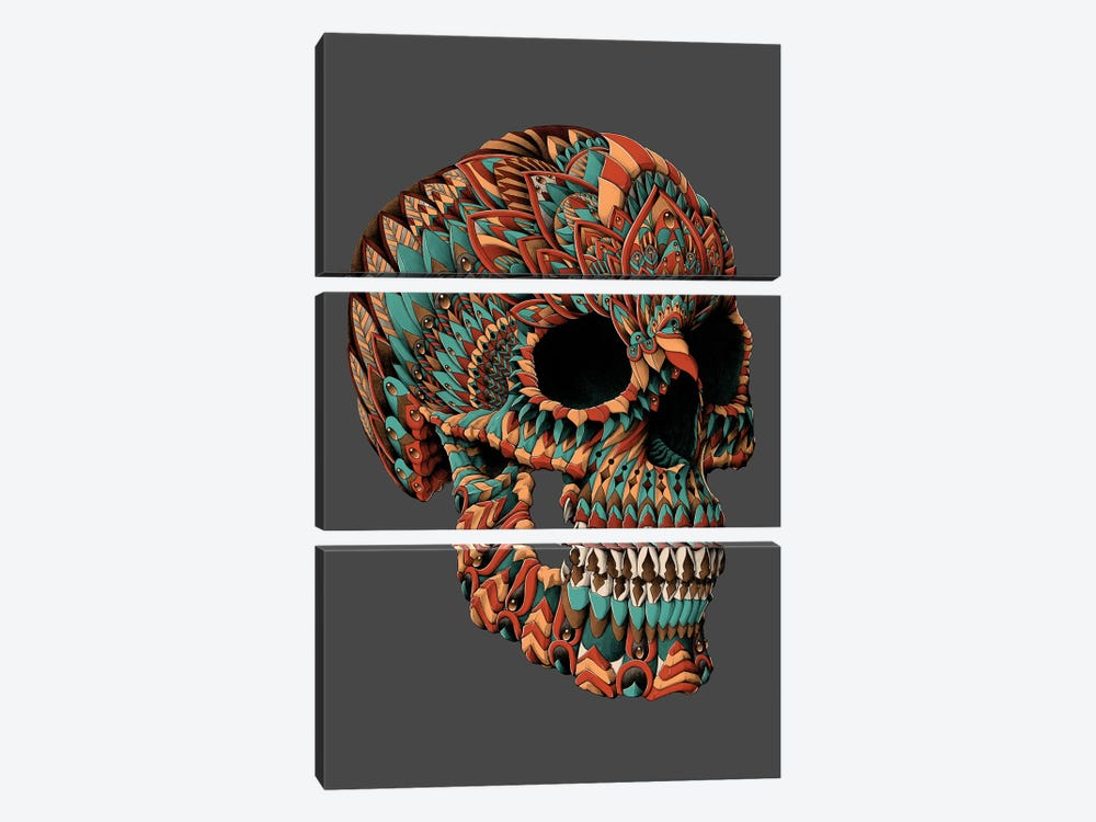 Ornate Skull In Color I by Bioworkz 3-piece Canvas Artwork