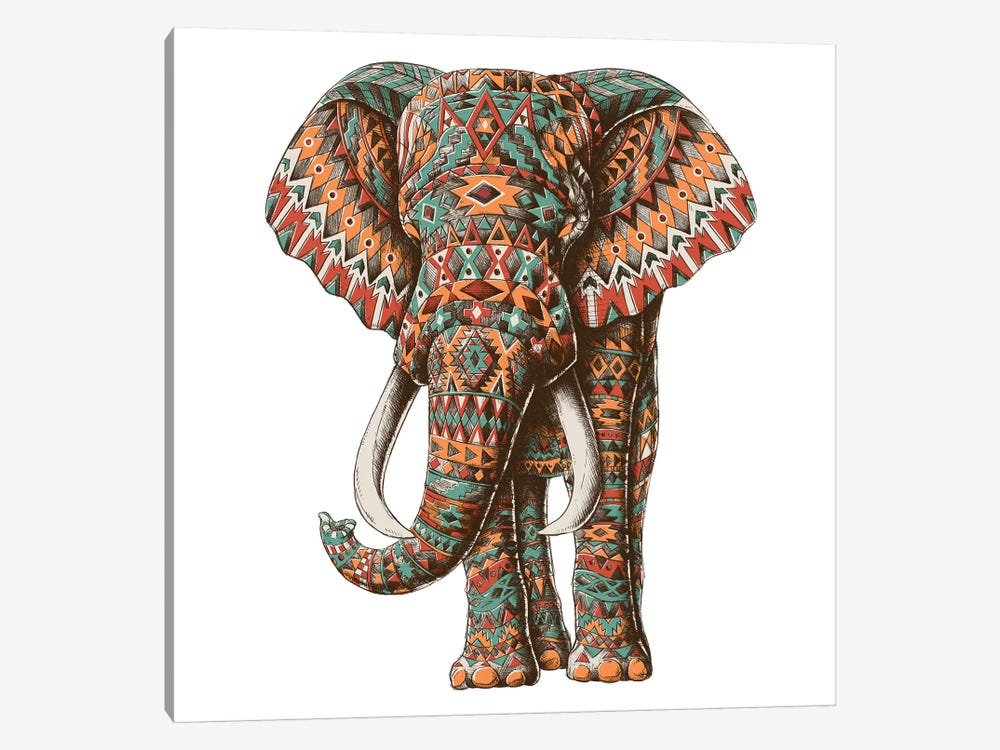 Ornate Tribal Elephant In Color II by Bioworkz 1-piece Canvas Wall Art