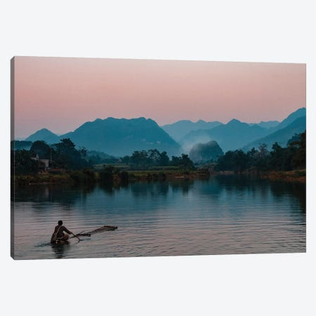 Asia, Vietnam, Pu Luong Nature Reserve. Lone Man Takes Simple Raft Out Onto River For Sunset Cruise. Canvas Print #BYM1} by Bryce Merrill Canvas Artwork